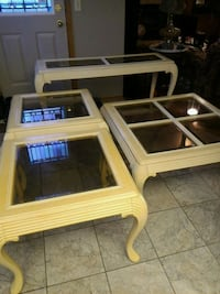 Solid wooden frame glass coffee table set