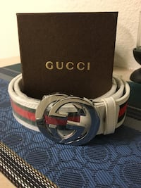 white, green, and red Gucci leather belt with box
