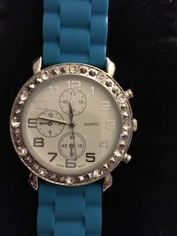 silver-colored faux  chronograph watch