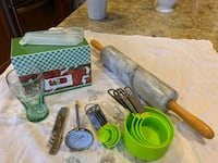 Cooking Bundle (Marble rolling pin, measuring cups, spoons, bottle opener, recipe box, meat thermometer, Coca Cola glass) Oxnard, 93036