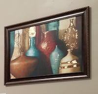 Brown wooden framed painting of vases Austell, 30106