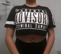 women's black and white crew-neck crop top MONTREAL
