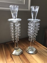 two clear glass candle holders Toronto, M6H 2P1