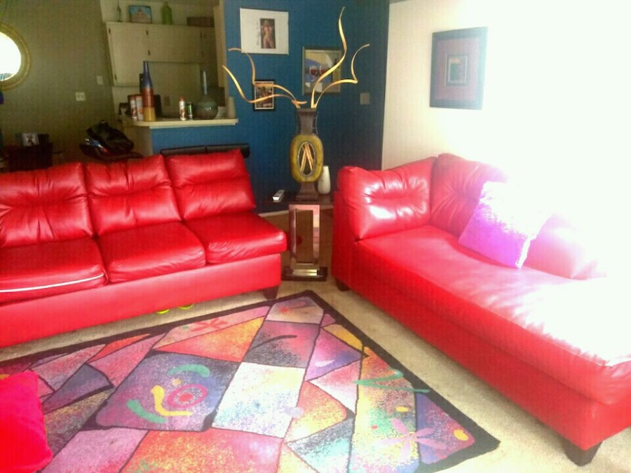 used red leather living room set phone number hidden for sale in rh gb letgo com