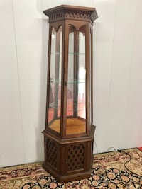 Antique Wood Carved Cathedral Pillar Display Cabinet  Boynton Beach, 33436