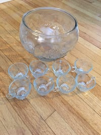 Vintage Rose Glass Punching Bowl with 8 cups Grand Rapids, 49508