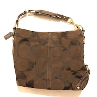 Authentic Coach Carly Signature Canvas Hobo Bag Dark Brown