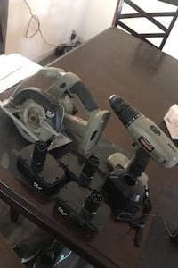 Cordless Hand Saw, Drill, 3 Batteries, Charging Station