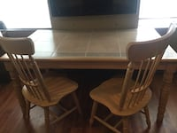 Rectangular brown ceramic top dining table with three chairs Fort Erie, L2A 4Z7