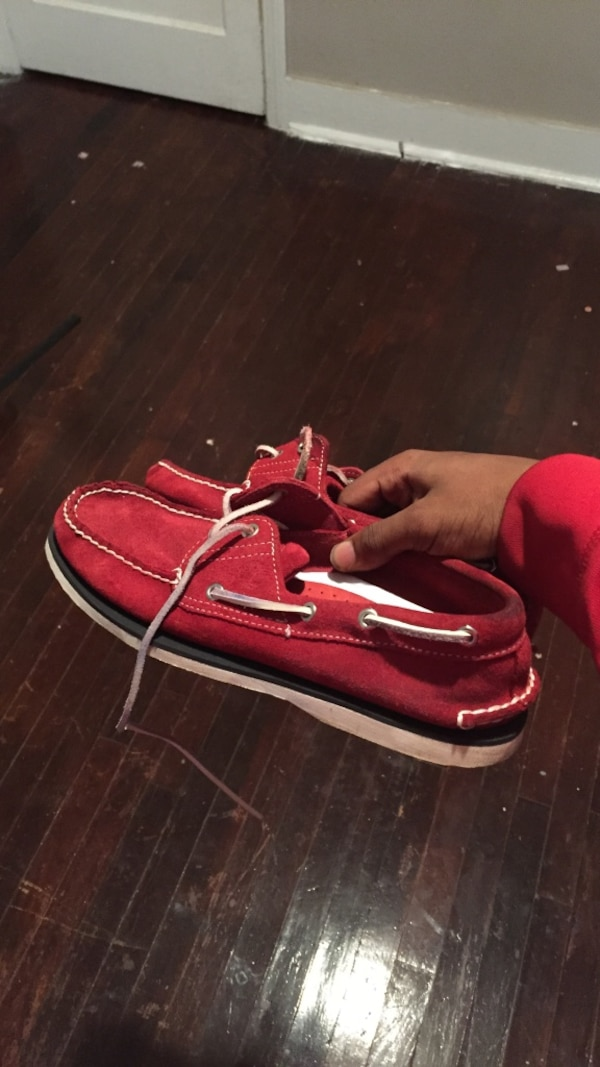 Pair of red boat shoes