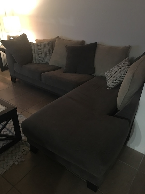 Gray Sectional Microfiber Couch