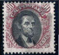 U.S. 122 1869 F/VF 90c Lincoln Stamp RARE Troy, 12180