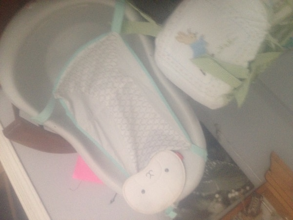 White and green fisher-price cradle n swing