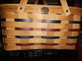 Adorable Blue and Red Picnic Basket with Tiny Table Inside