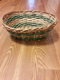 green and brown wicker basket Bolivia, 28422