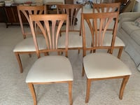 Five Wooden Dining Chairs with Beige Upholstery  McLean