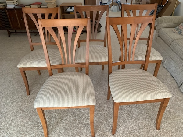 Five Wooden Dining Chairs with Beige Upholstery
