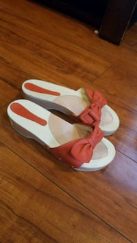pair of red-and-white sandals 186 mi