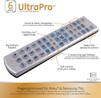 GE Universal 6 Device Remote Control for Smart TVs, Streaming Players, Blu-ray/DVD Toronto