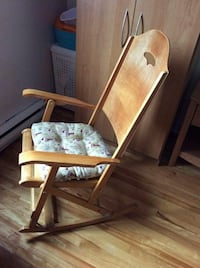 brown wooden framed gray padded armchair Montreal, H1G