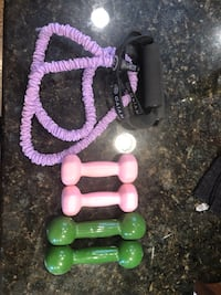 Dumbell weights and stretch band Chicago, 60638