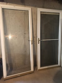 Two white wooden framed glass doors Round Lake, 60073