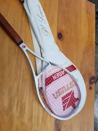 white and brown laser tennis racket with bag Kitchener, N2R 1W7