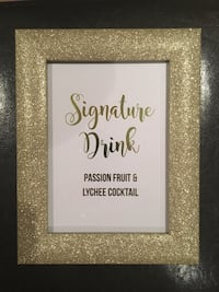 Gold glitter picture frame