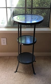 round black wooden side table Roseville, 95747