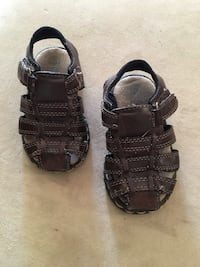 Pair toddler's of brown leather open-toe hiking sandals