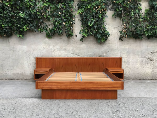 Danish Credenza Los Angeles : Used mid century danish queen teak platform bed w floating night