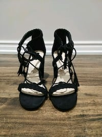 pair of black open-toe ankle strap heels Caledon, L7C 1A7