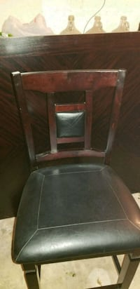 brown wooden framed black leather padded chair Louisville, 40241