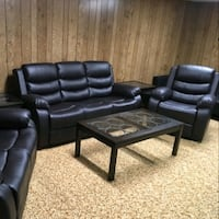 Brand New Black Reclining Sofa and Chair