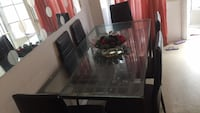 rectangular glass top table with six chairs dining set Toronto, M9W 3M5