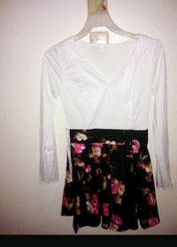 white and black floral long-sleeved dress Oklahoma City, 73127