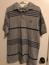 men's gray and black Chaps pinstriped polo shirt