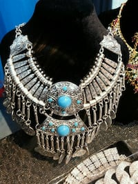 silver and blue gemstone necklace Toronto, M4E