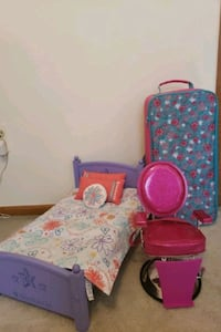 American Girl  Doll bed and chair.  Case is sold. Rockaway, 07866