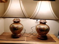 Pair of vintage handpainted Asian lamps