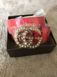 Small red Gucci belt