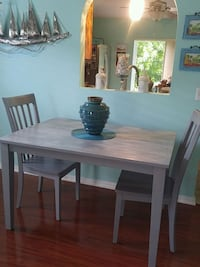 rectangular white wooden table with six chairs dining set Land O' Lakes, 34638