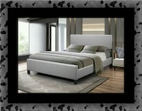 Grey platform bed with mattress all size McLean