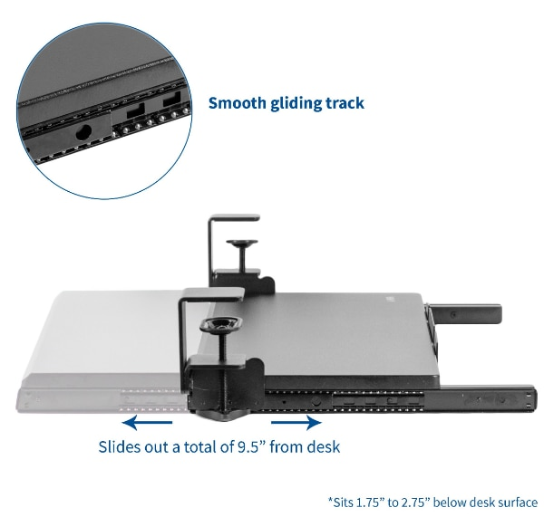 """Clamp-on Keyboard and Mouse Under Desk Slider Tray 