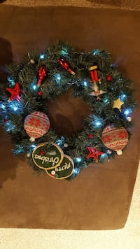 green, red, and blue Christmas wreath