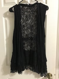 women's black lace cardigan