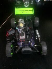 black-and-green r/c toy car