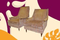 MCM Walnut Lounge Club Chairs with Accents mid century modern MCM