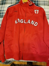 red and white zip-up jacket M