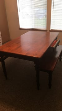 brown wooden table with drawer and bench 2317 mi